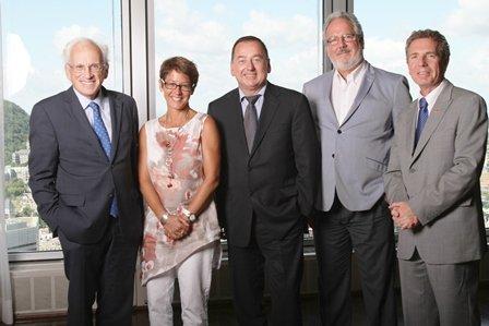 Les membres du jury: Jean-Paul Gagné, Marie-Claude Boisvert, Benoit Deshaies, Pierre Garneau et Jean Gattuso