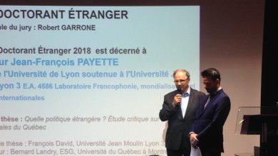 Jean-François Payette reçoit le Prix doctorant étranger de l'Université de Lyon